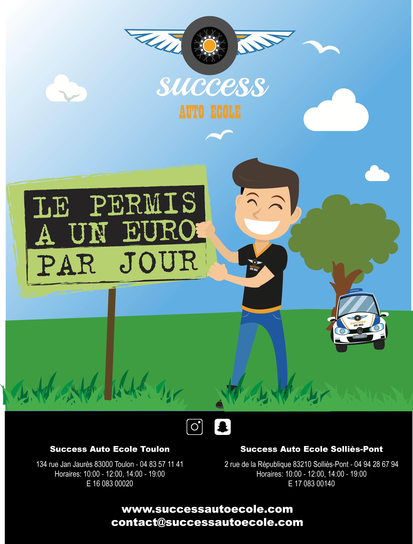 Permis 1 Euro Par Jour Success Auto Ecole